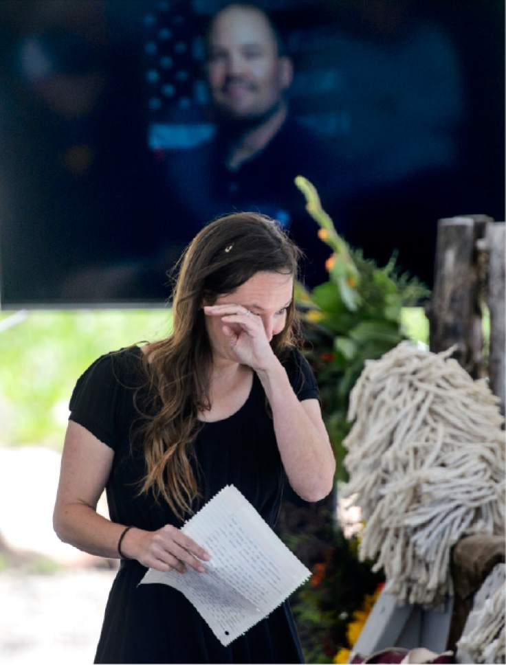 Steve Griffin  |  The Salt Lake Tribune    Tristan Gale Geisler, 2002 Olympic Skeleton Gold Medalist, wipes tears from her eyes after speaking about her long-time friend Steve Holcomb as Park City and the Holcomb family and friends hold a memorial to honor the late 37-year-old Park City gold medalist bobsledder who passed away suddenly in Lake Placid last month. The remembrance was held in the summer pavilion at Utah Olympic Park Park City Saturday June 10, 2017.