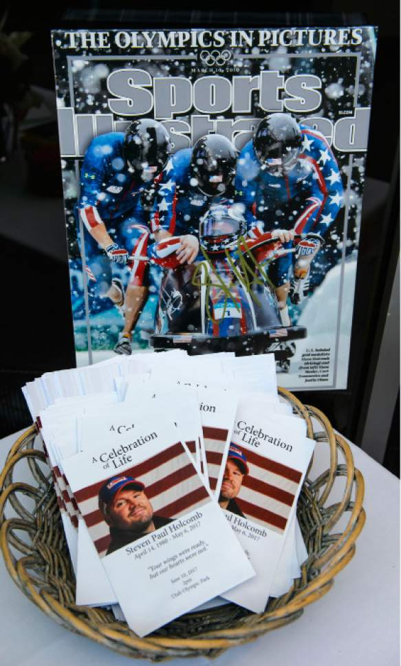 Steve Griffin  |  The Salt Lake Tribune    The program for A Celebration of Life for Steve Holcomb as Park City and the Holcomb family and friends hold a memorial to honor the late 37-year-old Park City gold medalist bobsledder who passed away suddenly in Lake Placid last month. The remembrance was held in the summer pavilion at Utah Olympic Park Park City Saturday June 10, 2017.