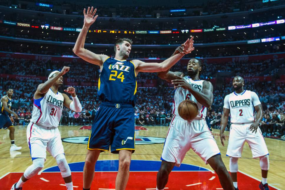 Chris Detrick  |  The Salt Lake Tribune LA Clippers forward Paul Pierce (34) Utah Jazz center Jeff Withey (24) and LA Clippers center DeAndre Jordan (6) go for a rebound during Game 2 of the Western Conference at the Staples Center Tuesday, April 18, 2017.