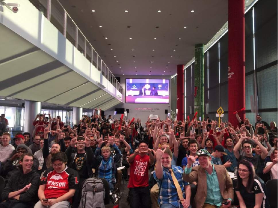 |  Courtesy University of Utah   The crowd at the University of Utah Crimson Gaming e-sports team game against Brigham Young University in November 2016.