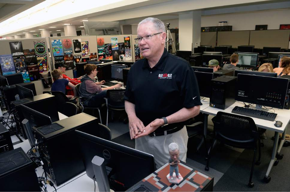 Al Hartmann  |  The Salt LakeTribune Bob Kessler describes the teaching computer lab at the Entertainment Arts and Engineering building where students create video esport programs at the The University of Utah.  It is the first school in one of the Power 5 conferences to offer varsity esports.