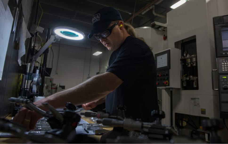 Leah Hogsten  |  The Salt Lake Tribune Silencerco machinist Gordon Wellington manufactures baffles for one of the company's silencers.  Silencerco is one of the country's largest manufacturers of silencer for guns of all kinds, Friday, May 28, 2017.