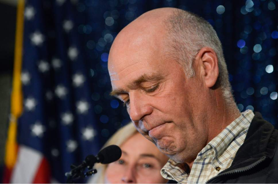 "FILE - In this May 25, 2017, file photo, Greg Gianforte celebrates his win over Rob Quist for Montana's open congressional seat in Bozeman, Mont.  Gianforte issued an apology letter Wednesday, June 7 and said he plans to donate money to a journalism advocacy organization as part of a settlement agreement with a reporter he is accused of assaulting. In exchange, Guardian reporter Ben Jacobs agreed not to sue Gianforte over the attack, and he will not object to Gianforte entering a ""no contest"" plea to the misdemeanor assault charge the Republican faces from the May 24 encounter. (Rachel Leathe/Bozeman Daily Chronicle via AP, File)"