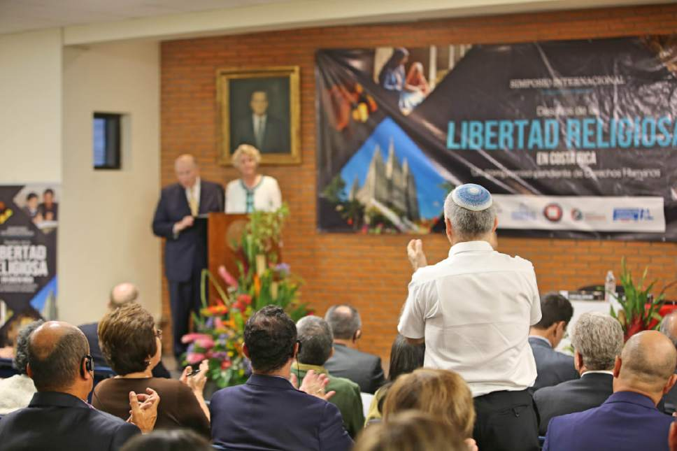 photo courtesy LDS Church An appreciative audience listened to Elder Dale G. Renlund of the Church's Quorum of the Twelve Apostles and his wife, Ruth Lybbert Renlund, speak at an international religious freedom symposium in Costa Rica, June 9, 2017.