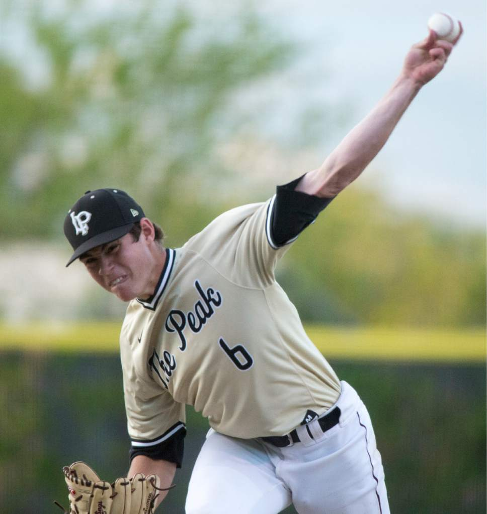 Rick Egan  |  The Salt Lake Tribune  Seth Corry (6), pitches for Lone Peak, in the 5A baseball quarterfinal between Lone Peak and Bingham, in Kearns, Tuesday, May 23, 2017.