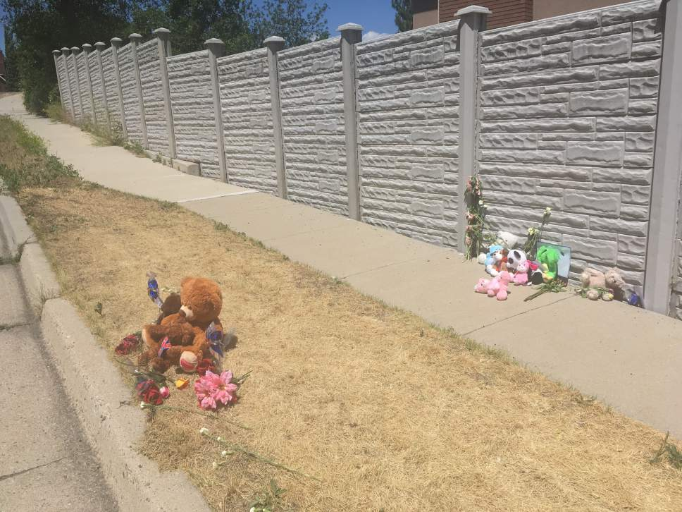 Tiffany Frandsen | The Salt Lake Tribune  A teddy bear and flowers near the scene of of a murder suicide in Sandy, Alta Canyon Drive near its intersection with Littlecloud Road on June 7, 2017.
