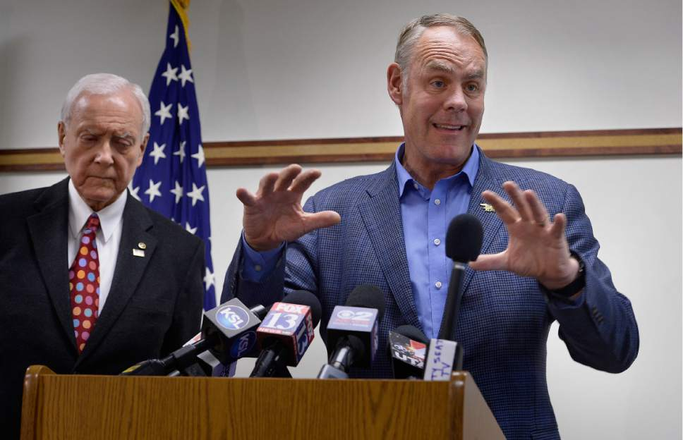 Scott Sommerdorf | The Salt Lake Tribune Secretary of the Interior Ryan Zinke spoke at a brief press conference after having met with members of the Bears Ears Commission Sunday at the Bureau of Land Management office at the Gateway in Salt Lake City, Sunday, May 7, 2017.