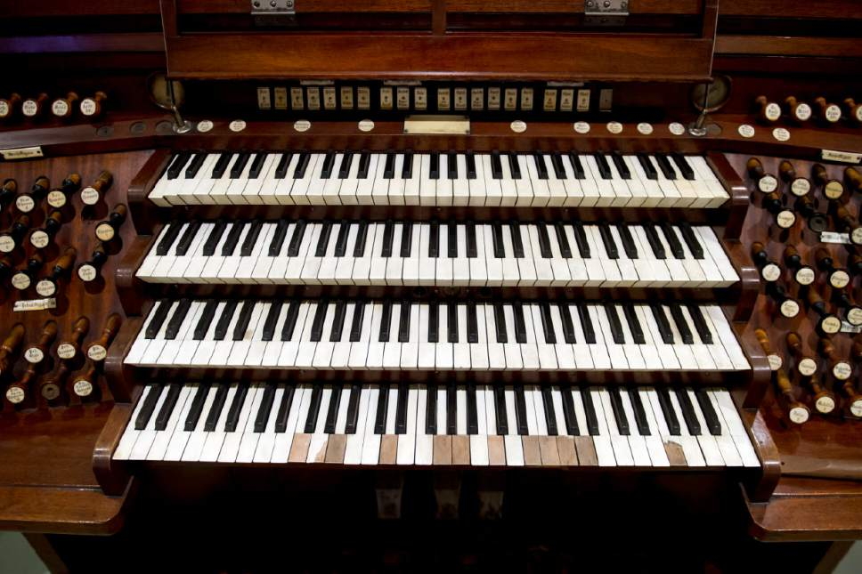 Jeremy Harmon  |  The Salt Lake Tribune  The Kimball console is part of The Church History Museum's new exhibit marking the 150th anniversary of the Tabernacle Organ. This console was used in the Tabernacle from 1901-1915.