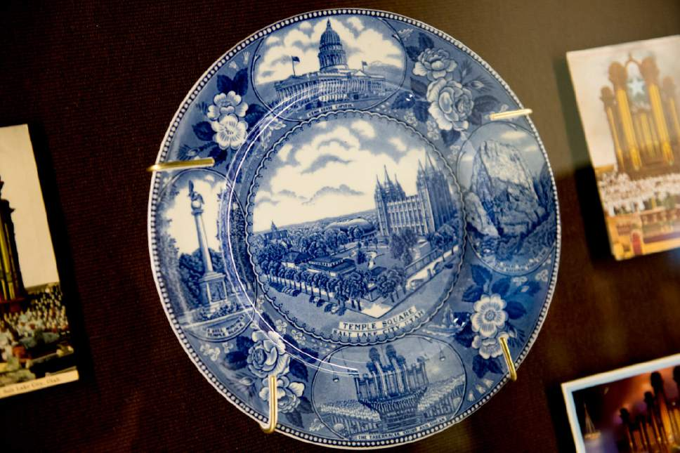 Jeremy Harmon  |  The Salt Lake Tribune  This 1947 commemorative plate, which is part of The Church History Museum's new exhibit marking the 150th anniversary of the Tabernacle Organ, features many Salt Lake City landmarks.