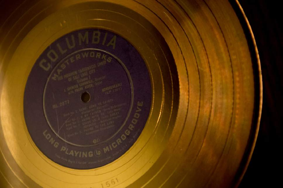 Jeremy Harmon  |  The Salt Lake Tribune  This gold record is part of The Church History Museum's new exhibit marking the 150th anniversary of the Tabernacle Organ. It was a gift to then-LDS Church President Spencer W. Kimball in 1976.