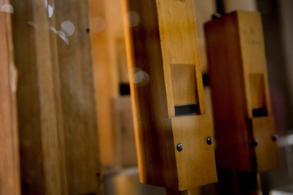 Jeremy Harmon  |  The Salt Lake Tribune  These pipes, which are part of The Church History Museum's new exhibit marking the 150th anniversary of the Tabernacle Organ, were used in the organ between 1867 and 1948.