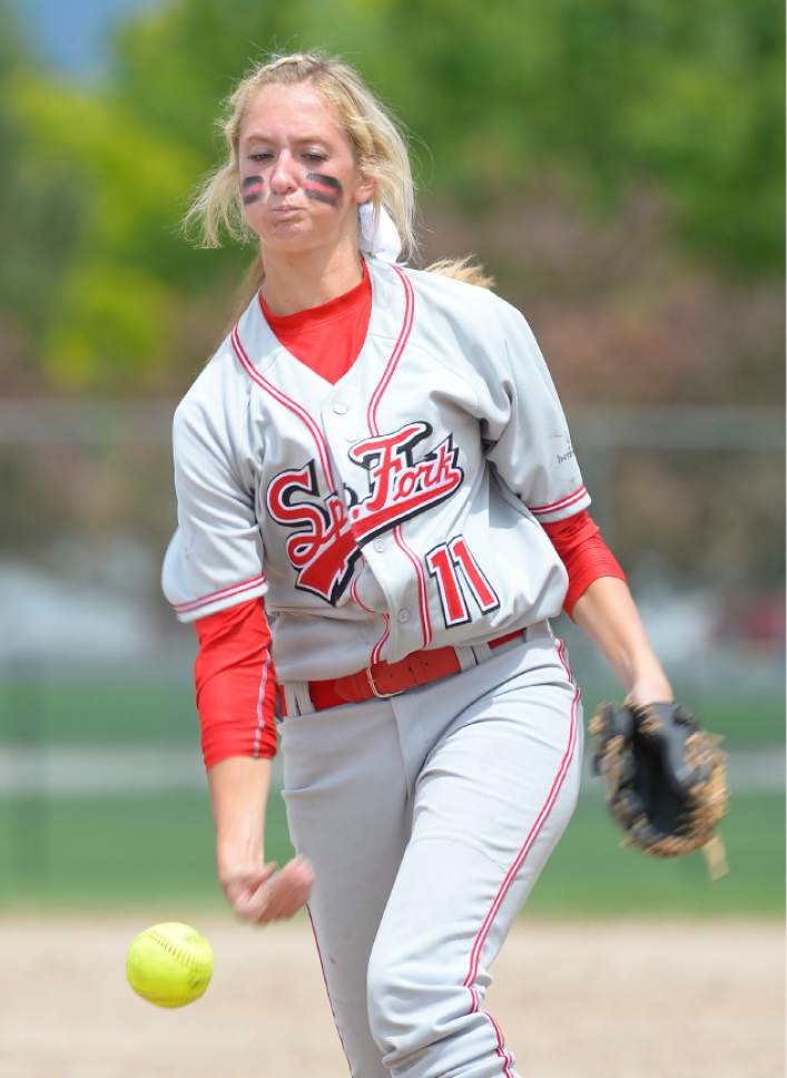 Leah Hogsten     The Salt Lake Tribune Spanish Fork pitcher Cambrie Hazel. Spanish Fork High School girls softball team defeated Springville High School 7-1 during their 4A state semifinal game Thursday, May 21, 2015 at the Taylorsville Valley Softball Complex.
