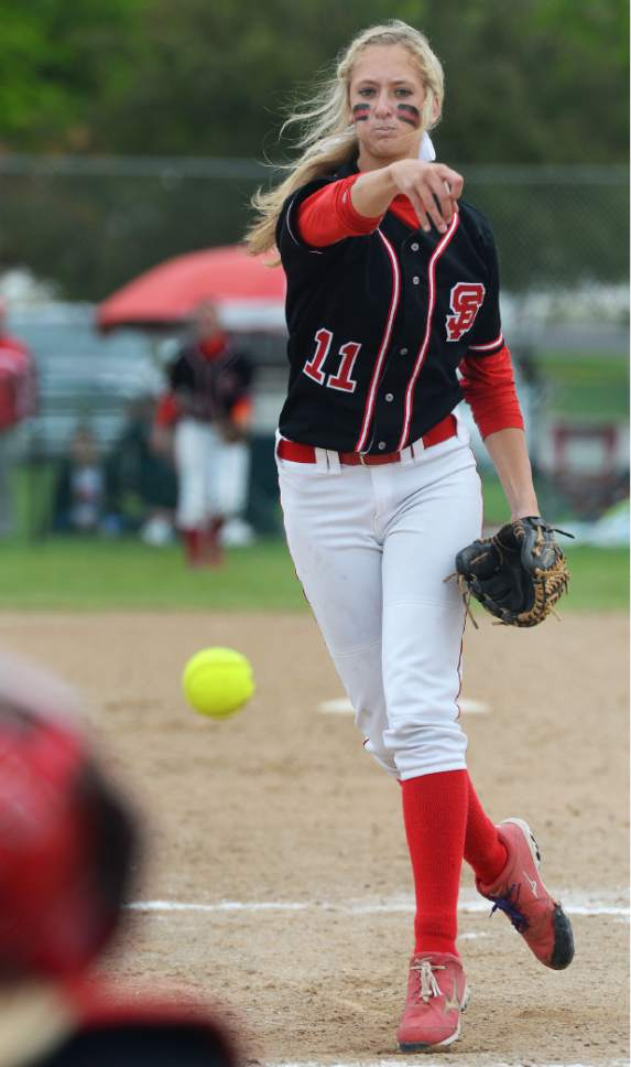 Steve Griffin     The Salt Lake Tribune   Spanish Fork pitcher Cambrie Hazel delivers a pitch during the 4A softball championship game between Maple Mountain and Spanish Fork at th eValley Softball Complex in Taylorsville, Friday, May 22, 2015.