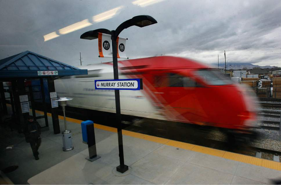 Scott Sommerdorf  |  Tribune file photo               FrontRunner train leaves the Murray Station on its way to Salt Lake City.