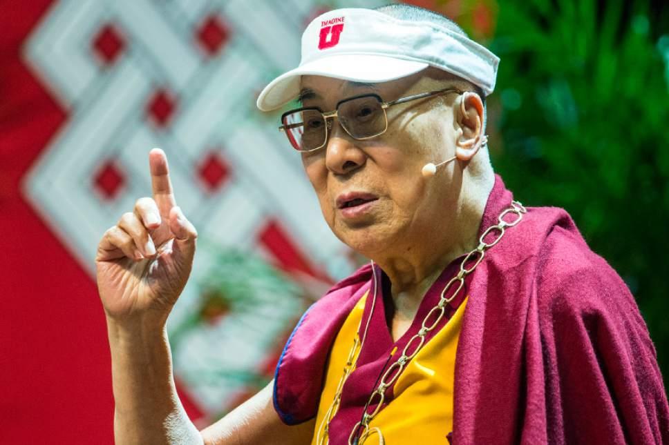 Chris Detrick     The Salt Lake Tribune The Dalai Lama speaks at the Huntsman Center at the University of Utah Tuesday June 21, 2016.