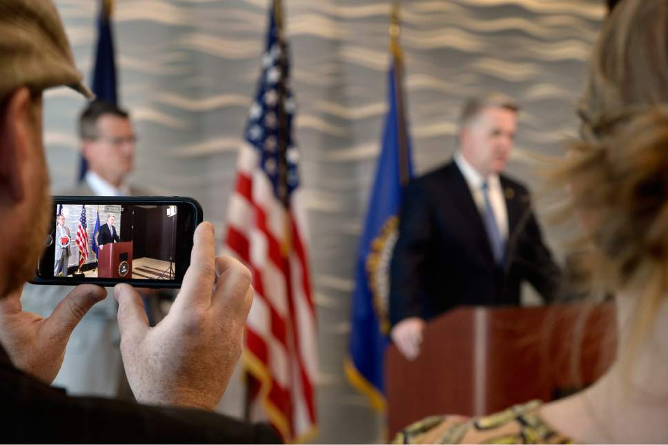 Scott Sommerdorf | The Salt Lake Tribune Members of the media live stream as FBI Special Agent in Charge Eric Barnhart and US Attorney for Utah John Huber speak at a press conference about the arrest of FLDS Church Leader Lyle Jeffs, Thursday, June 15, 2017. Jeffs was arrested Wednesday night in South Dakota.