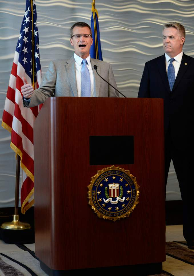 Scott Sommerdorf | The Salt Lake Tribune FBI Special Agent in Charge Eric Barnhart, left, speaks alongside US Attorney for Utah John Huber at a press conference about the arrest of FLDS Church Leader Lyle Jeffs, Thursday, June 15, 2017. Jeffs was arrested Wednesday night in South Dakota.