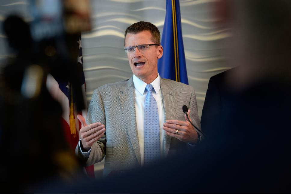 Scott Sommerdorf | The Salt Lake Tribune FBI Special Agent in Charge Eric Barnhart speaks at a press conference about the arrest of FLDS Church Leader Lyle Jeffs, Thursday, June 15, 2017. Jeffs was arrested Wednesday night in South Dakota.