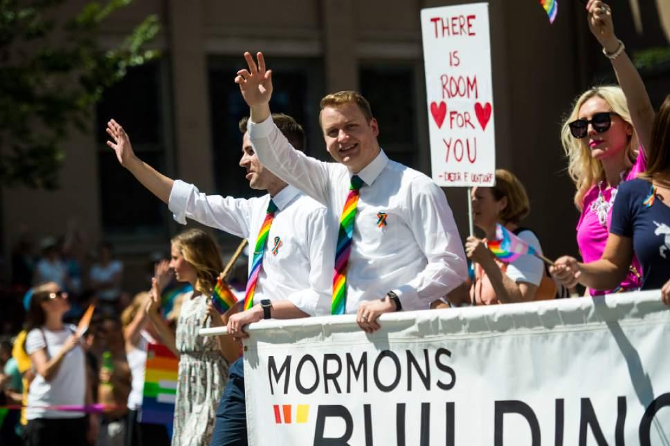 Chris Detrick  |  The Salt Lake Tribune Members of Mormons Building Bridges participate during the Utah Pride Parade Sunday June 5, 2016.