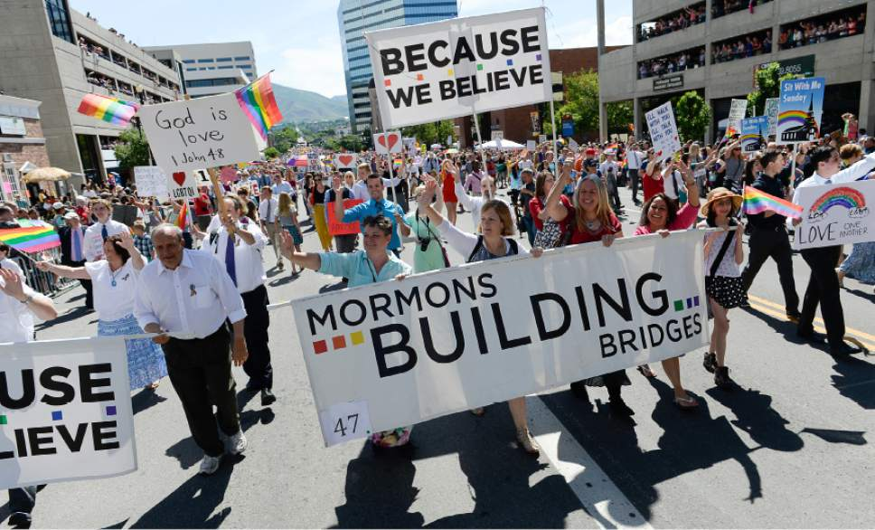 Francisco Kjolseth  |  The Salt Lake Tribune Mormons Building Bridges join the fun for the Pride Parade, Utah's second-largest parade, after the Days of '47, in downtown Salt Lake City last year.