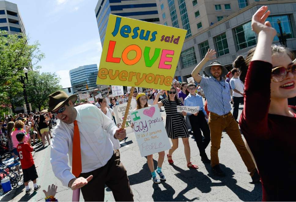 Francisco Kjolseth  |  The Salt Lake Tribune Mormons Building Bridges join the fun for the Pride Parade, Utah's second-largest parade, after the Days of '47, and by far the most colorful, on the streets of downtown Salt Lake City last year.
