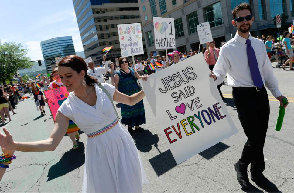Francisco Kjolseth  |  The Salt Lake Tribune Mormons Building Bridges join the fun for the Pride Parade, Utah's second-largest parade, after the Days of '47, and by far the most colorful, on the streets of downtown Salt Lake on Sunday, June 7, 2015.