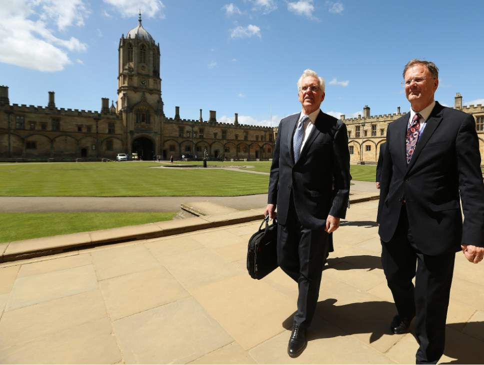 |  Courtesy LDS Church   Elder D. Todd Christofferson walks the Oxford University campus with Philip Tootill of Christ Church in Oxford, England. Elder Christofferson spoke to students, faculty and academics at the University of Oxford England on Thursday, June 15, 2017, about his experiences as a law clerk during the Watergate trials more than 40 years ago.