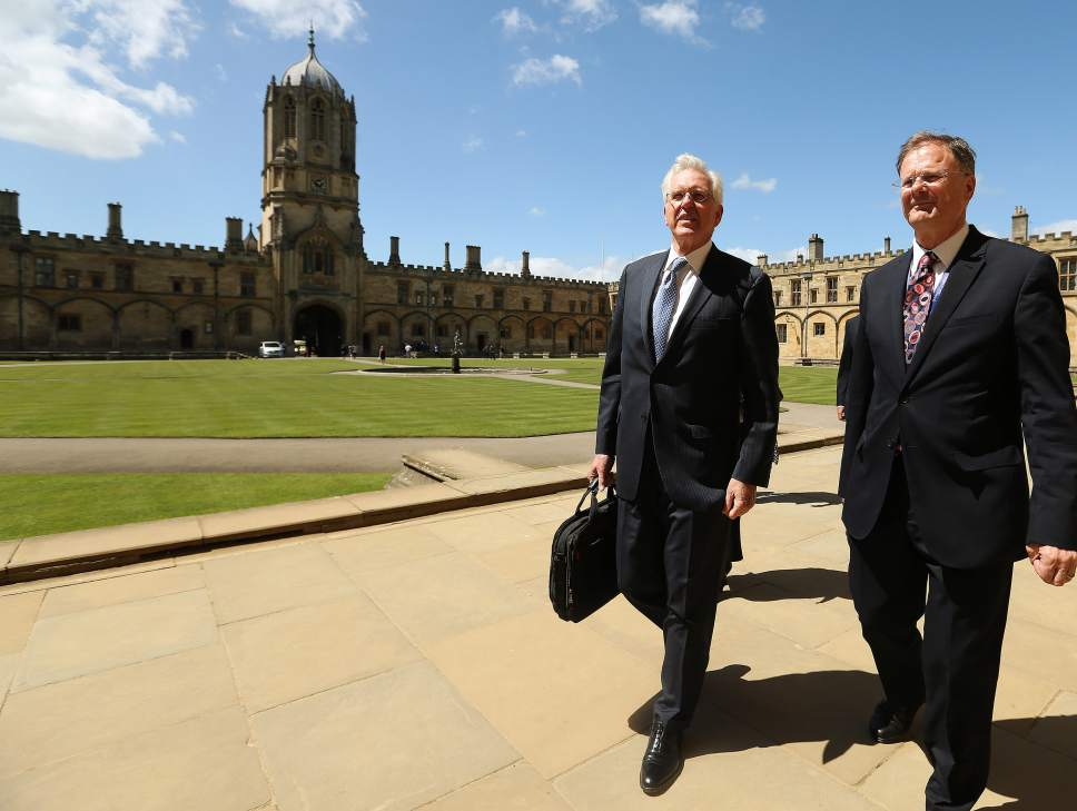 Elder D. Todd Christofferson, Quorum of the Twelve Apostles of The Church of Jesus Christ of Latter-day Saints, gets a tour from Philip Tootill at Christ Church, Oxford University prior to speaking in Oxford, England on Thursday, June 15, 2017.