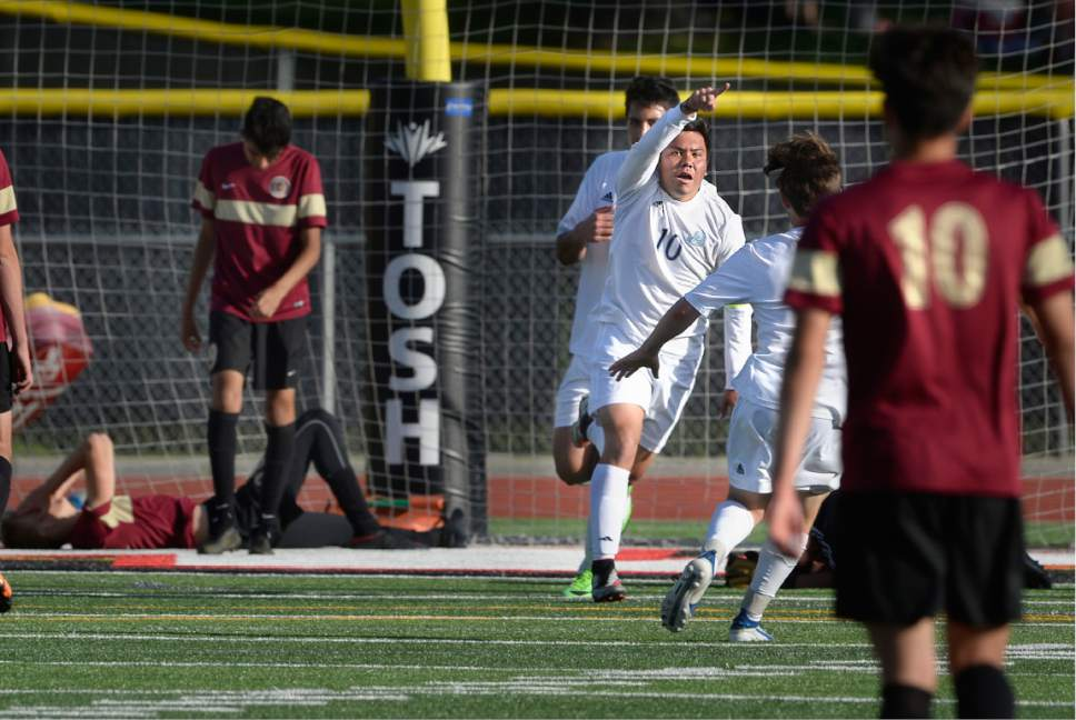 Scott Sommerdorf | The Salt Lake Tribune Juan Diego's Ruben Castillo celebrates his goal to give Juan Diego a 1-0 lead as Juan Diego defeated Logan 3-1 in a 3A boy's semi-final, Friday, May 12, 2017.