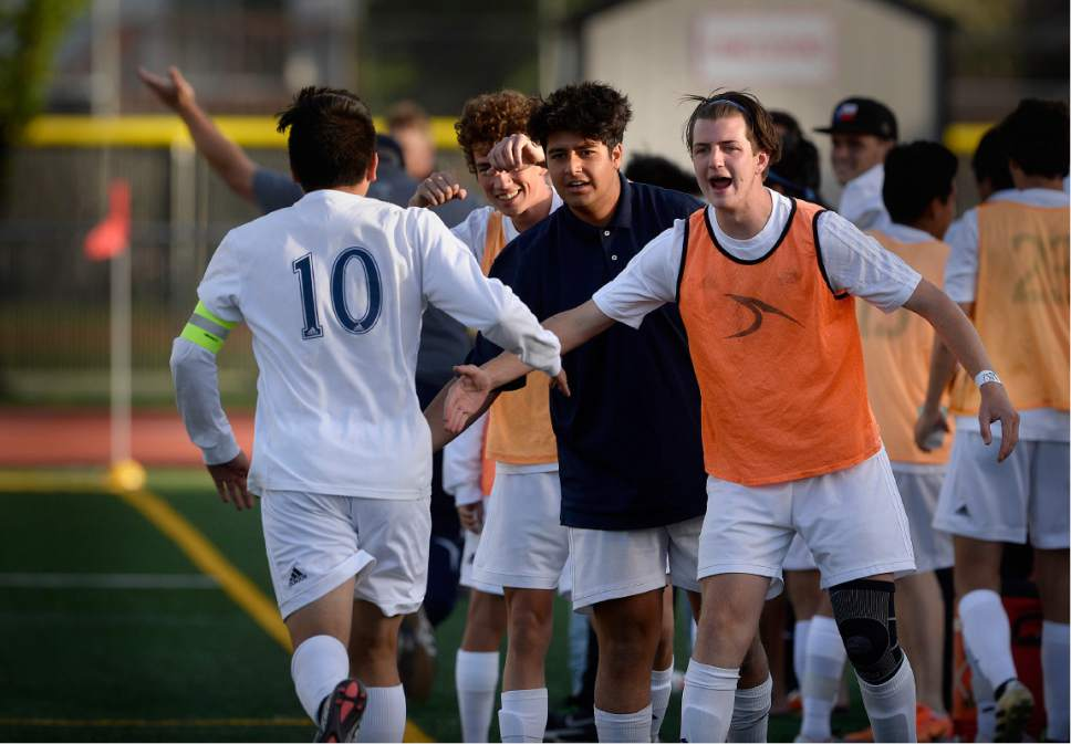Scott Sommerdorf | The Salt Lake Tribune The Juan Diego bench gives congratulations to Ruben Castillo after he scored again to give Juan Diego a 2-0 lead. Juan Diego defeated Logan 3-1 in a 3A boy's semi-final, Friday, May 12, 2017.