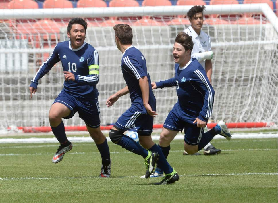 Scott Sommerdorf | The Salt Lake Tribune Ruben Castillo celebrates his goal that gave Juan Diego a 1-0 lead early in the second half. Ridgeline beat Juan Diego 2-1 in 2 OT to win the 3A state soccer championship, Saturday, May 13, 2017.