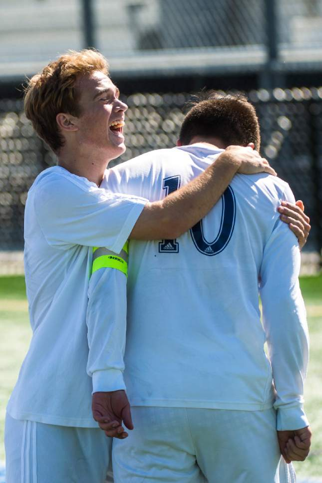Chris Detrick  |  The Salt Lake Tribune Juan Diego's Jered Mariani (19) and Juan Diego's Ruben Castillo (10) celebrate after Castillo scored a goal during the game at Juan Diego High School Thursday, May 4, 2017.