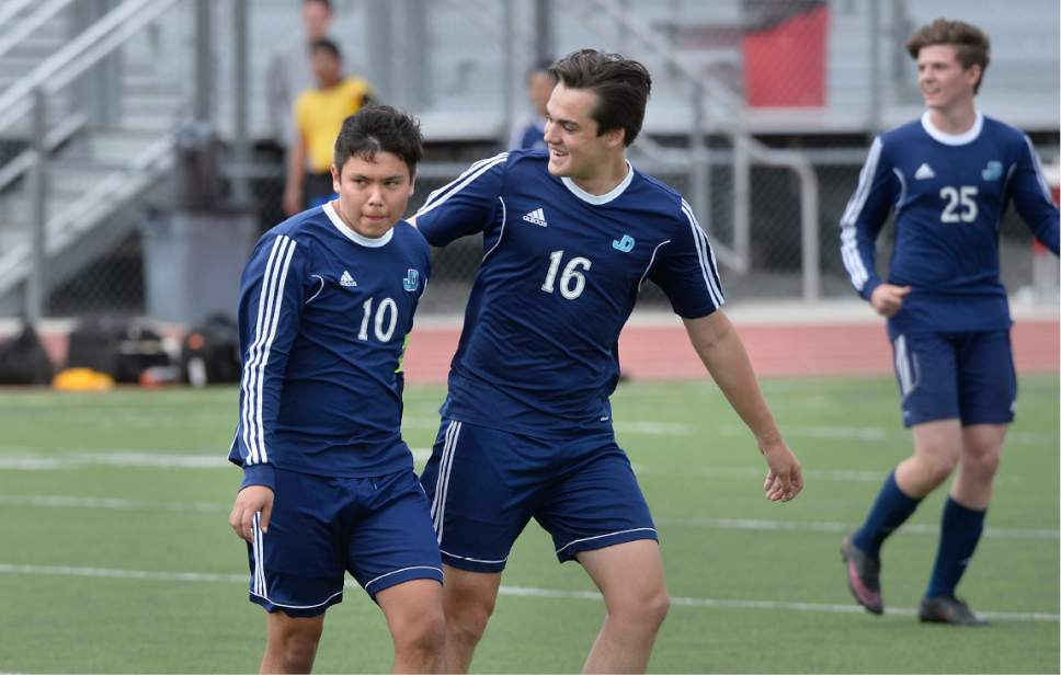 Scott Sommerdorf | The Salt Lake Tribune Juan Diego's Ruben Castillo, left, celebrates his third of three goals along with team mate Alex Saunders who scored the other goal as Juan Diego beat Park City 4-0 in a 3A boys' soccer state quarterfinal played in Park City, Saturday, May 6, 2017.