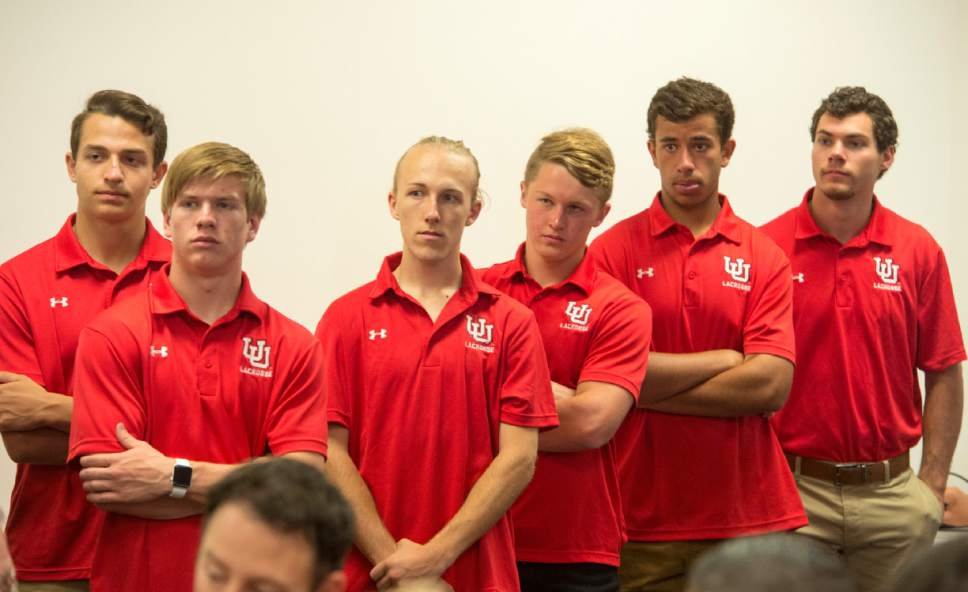 Rick Egan  |  The Salt Lake Tribune  The University of Utah Lacrosse team listens as the U of U announces that it will add men's lacrosse as a division 1 sport in a news conference at the Spence and Cleone Eccles Center, Friday, June 16, 2017.