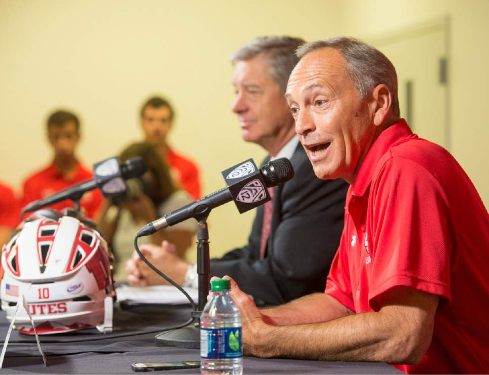 Rick Egan  |  The Salt Lake Tribune  University of Utah Lacrosse coach Brian Holman makes a statement, as the UofU announces that it will add men's lacrosse as a division 1 sport in a news conference at the Spence and Cleone Eccles Center, Friday, June 16, 2017.