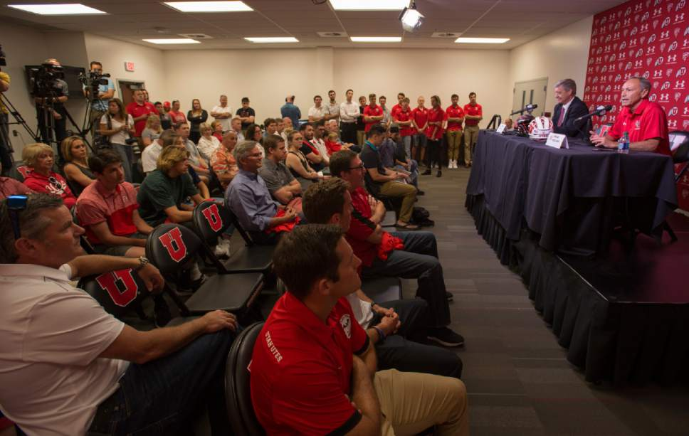 Rick Egan  |  The Salt Lake Tribune  University of Utah Athletic Director, Chris Hill announces that the University of Utah will add men's lacrosse as a division 1 sport in a news conference at the Spence and Cleone Eccles Center, Friday, June 16, 2017.