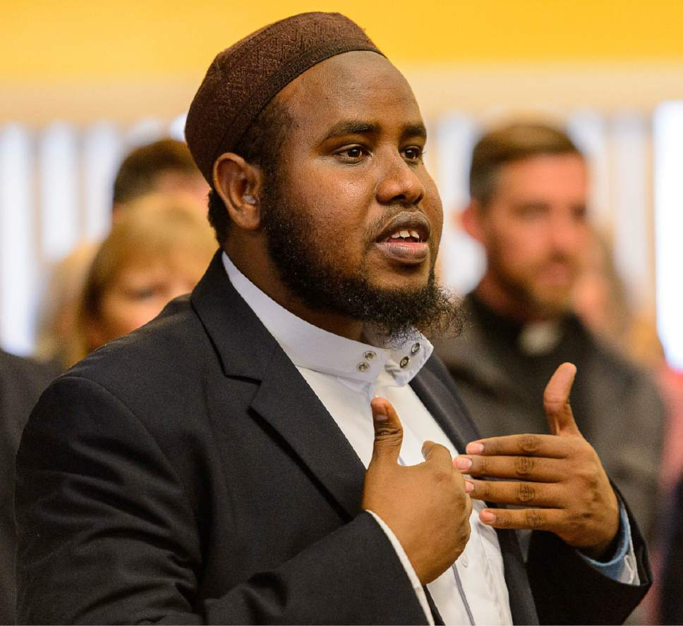 Trent Nelson     The Salt Lake Tribune Imam Yussuf Abdi speaks at a news conference where religious and community leaders gathered at the Madina Masjid Islamic Center in Salt Lake City to show support, Friday March 10, 2017.