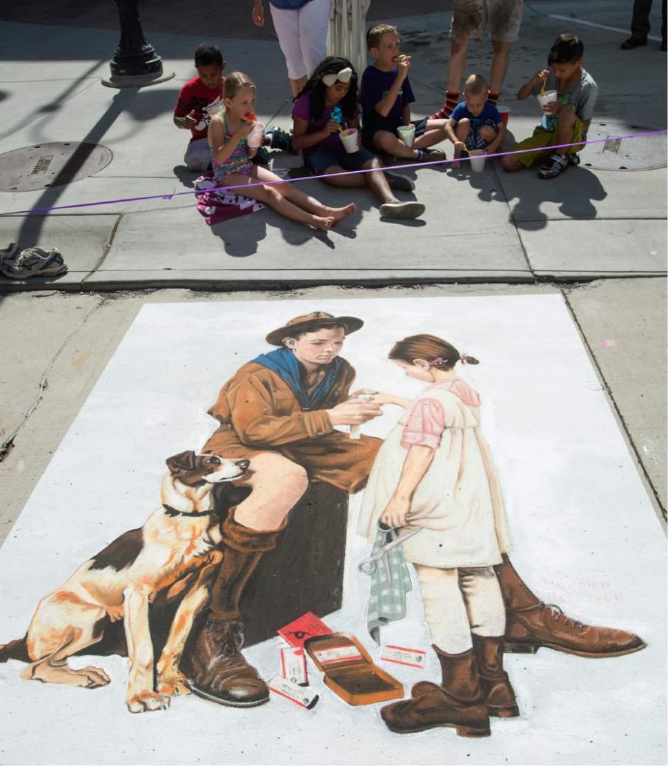 Rick Egan  |  The Salt Lake Tribune  Chalk art on Rio Grande Street at the Gateway, during the Utah Foster Care Chalk Art Festival, Saturday, June 17, 2017.
