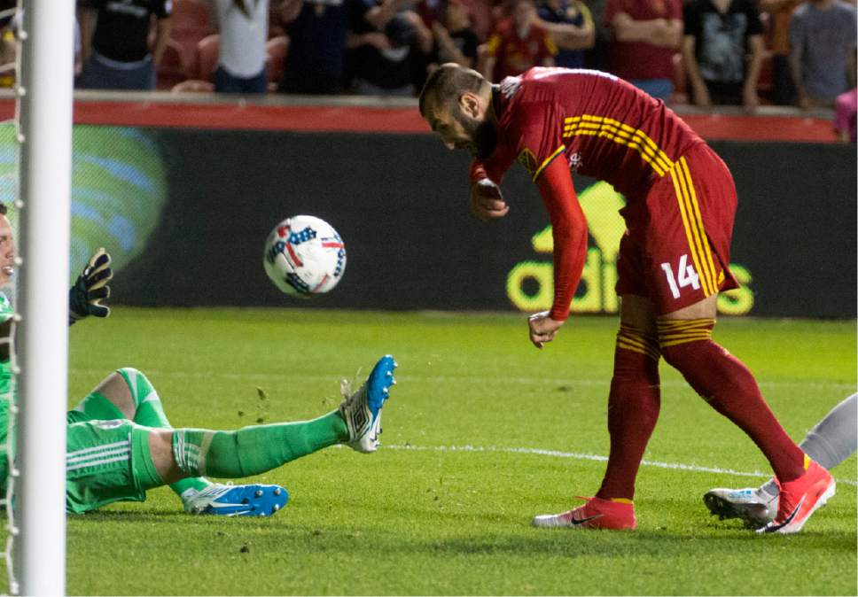 Rick Egan     The Salt Lake Tribune  Real Salt Lake forward Yura Movsisyan (14), scores the winning goal in MLS soccer action at Rio Tinto Stadium, Saturday, June 17, 2017.
