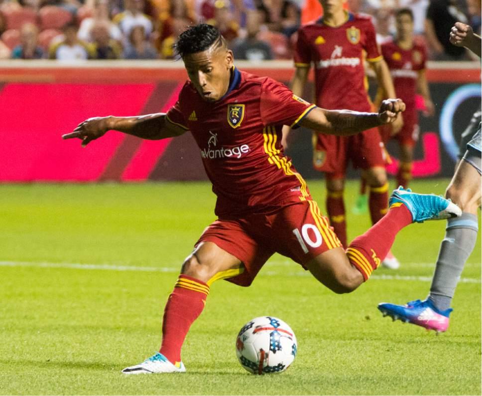 Rick Egan     The Salt Lake Tribune  Real Salt Lake forward Joao Plata (10) kicks the ball, in MLS action at Rio Tinto Stadium, Saturday, June 17, 2017.