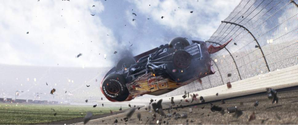 "Lightning McQueen suffers a crash in a scene from Pixar's ""Cars 3."" It opens in theaters June 16. Courtesy  Pixar Animation Studios/Disney"