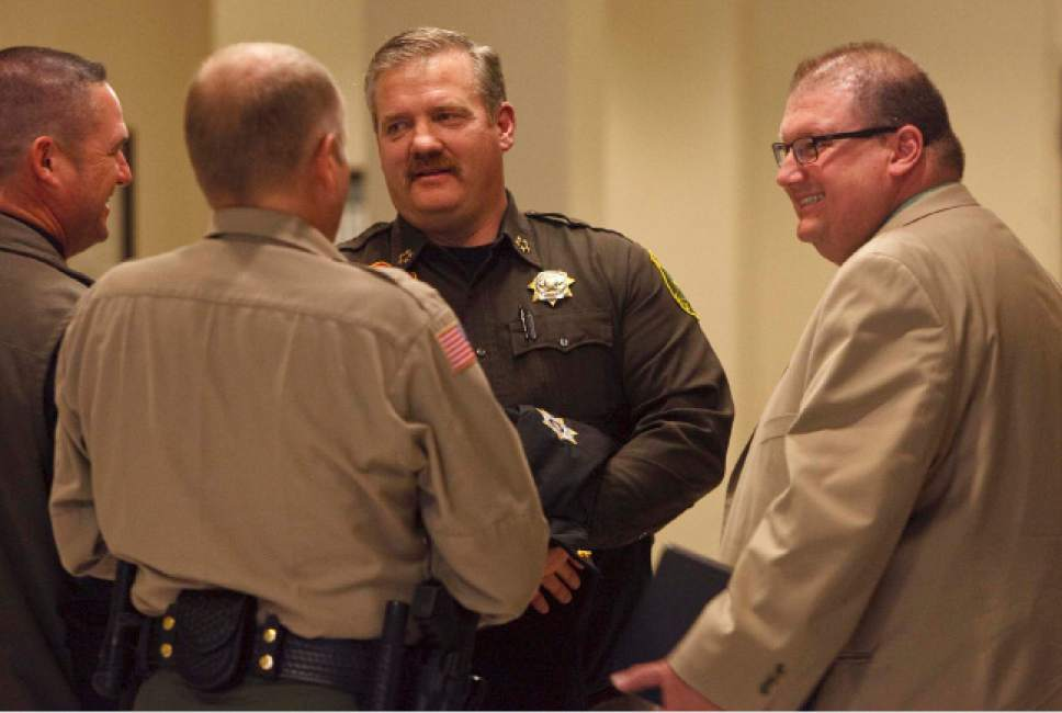 Leah Hogsten  |  Tribune file photo  Beaver County Sheriff Cameron Noel (right), Davis County Sheriff Todd Richarson (center) and Iron County Sheriff Mark Gower (left) joined other members of the the House Law Enforcement and Criminal Justice Committee of the Legislature at the State Capitol Complex House Building, Tuesday January 29, 2013.