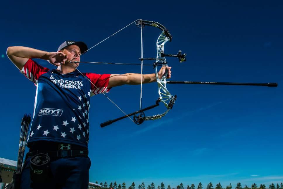 Chris Detrick     The Salt Lake Tribune Archer Steve Anderson poses for a portrait at the Easton Salt Lake Archery Center Friday, June 16, 2017.