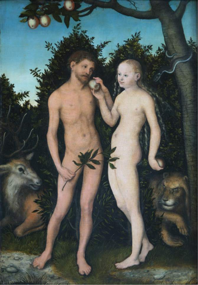 A painting of Adam and Eve
