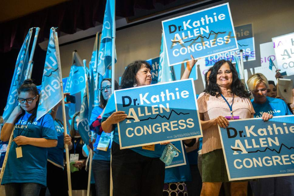Chris Detrick  |  The Salt Lake Tribune Supporters of third congregational district candidate Dr. Kathie Allen listen as she speaks during the Utah State Democratic Party 2017 State Organizing Convention at Weber State University Shepard Union Saturday, June 17, 2017.