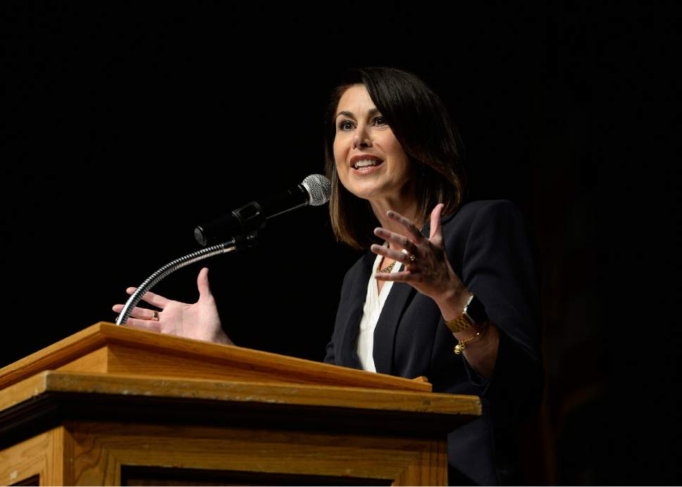 Scott Sommerdorf | The Salt Lake Tribune Candidate Deidre M. Henderson speaks at the Republican Special Convention for Utah Congressional District 3 to choose the candidate to replace Congressman Jason Chaffetz, held at Timpview High School, Saturday, June 17, 2017.