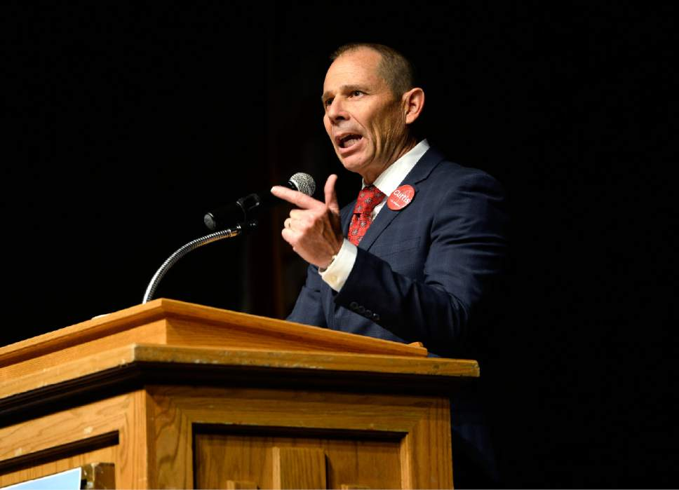 Scott Sommerdorf | Tribune file photo Provo Mayor and congressional candidate John Curtis speaks at the Republican Special Convention for Utah's 3rd Congressional District to pick the party nominee to replace retired Rep. Jason Chaffetz, held at Timpview High School, Saturday, June 17, 2017. Former Rep. Chris Herrod emerged as the clear favorite of GOP delegates.