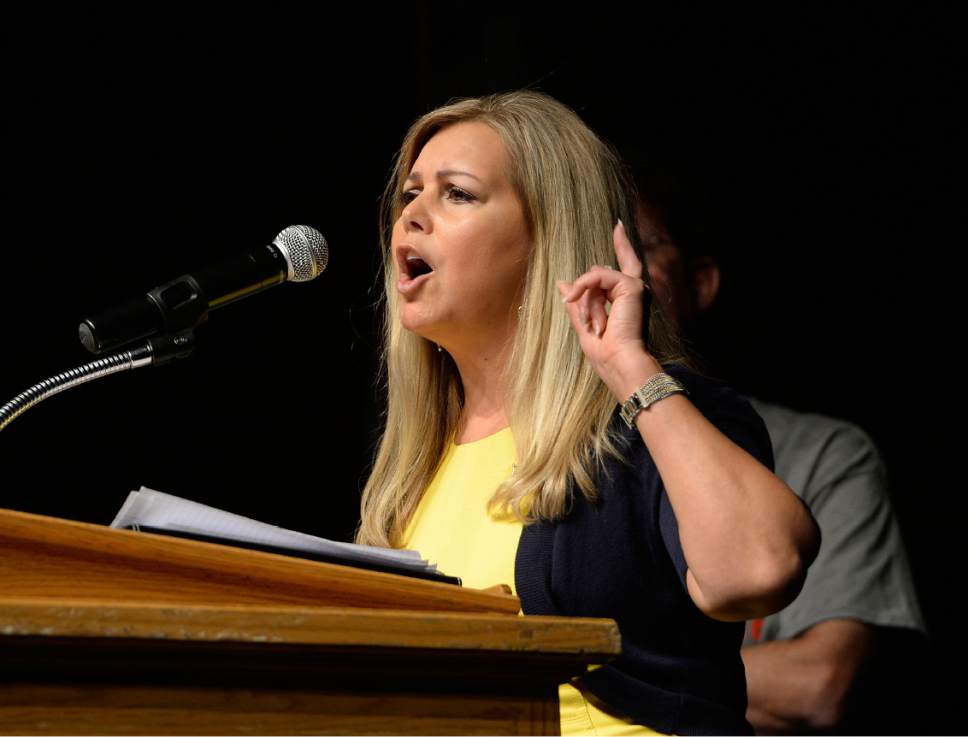 Scott Sommerdorf | The Salt Lake Tribune Candidate Debbie Aldrich speaks at the Republican Special Convention for Utah Congressional District 3 to choose the candidate to replace Congressman Jason Chaffetz, held at Timpview High School, Saturday, June 17, 2017.