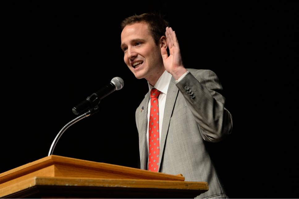 Scott Sommerdorf | The Salt Lake Tribune Candidate Paul David Fife speaks at the Republican Special Convention for Utah Congressional District 3 to choose the candidate to replace Congressman Jason Chaffetz, held at Timpview High School, Saturday, June 17, 2017.