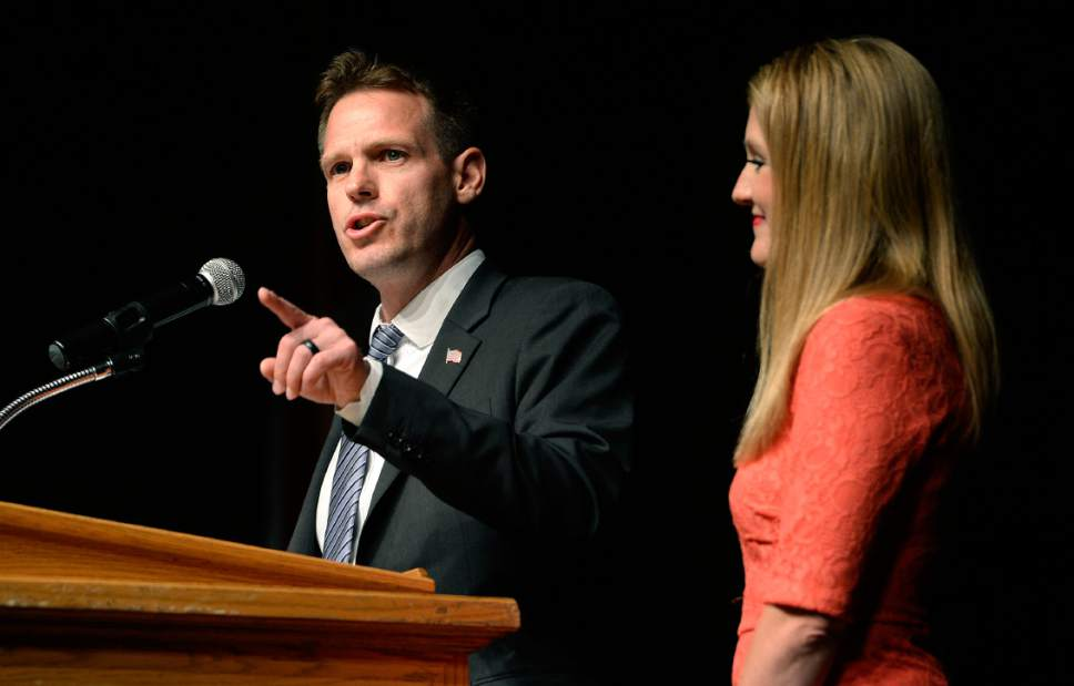 Scott Sommerdorf | The Salt Lake Tribune Candidate Damian Kidd speaks at the Republican Special Convention for Utah Congressional District 3 to choose the candidate to replace Congressman Jason Chaffetz, held at Timpview High School, Saturday, June 17, 2017.